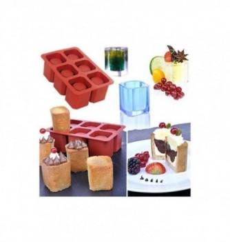 Silicone mold 6 shot glasses ice-square