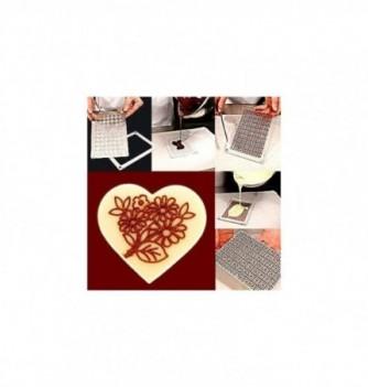 Plastic mold floral heart diam50mm 6pcs