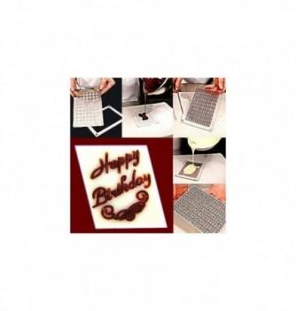 Plastic mold happy birthday 48x36mm 9 pcs
