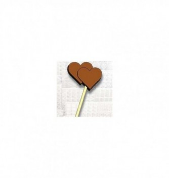 Chocolate mold lollipops 7 Double hearts 50x35x15-20gr