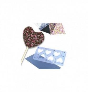 Chocolate mold lollipops 6 hearts 50x40x6mm