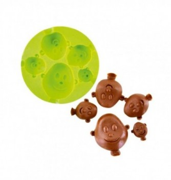 Silicone mold -Babies's heads 5 pcs - Diam 80mm