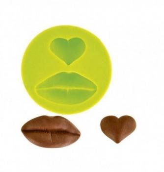 Silicone mold - Heart & lips 2 pcs diam.45mm
