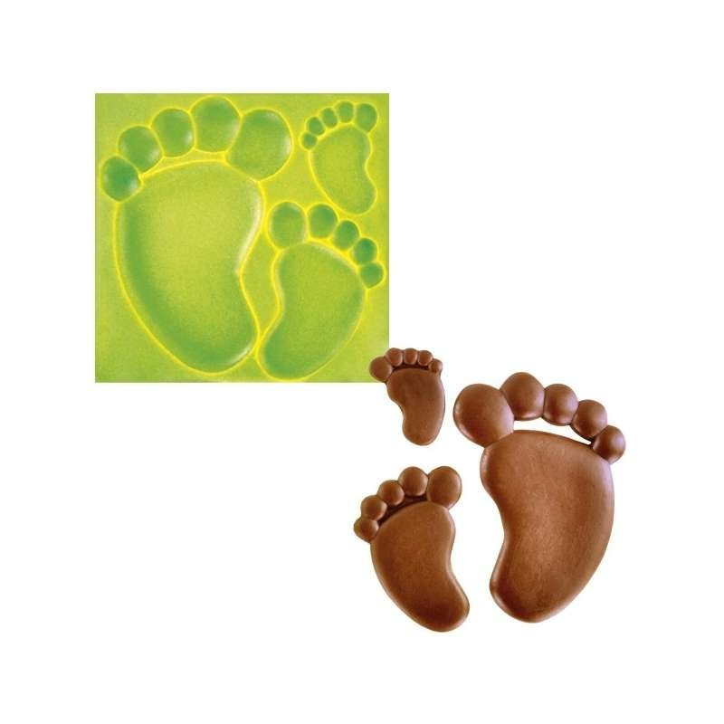 Moule silicone 10 sucettes foot 2 motifs-60x40mm