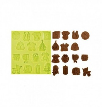 Silicone mold - Baby Letters kit 15 pcs 9 to 20mm