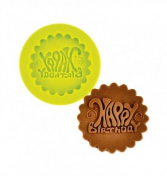 Silicone mold - Happy birthday -Diam.55mm diam.55mm