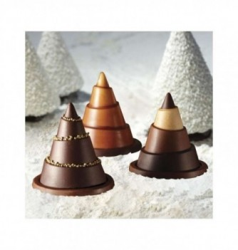 Chocolate mold - Set of 6 Fir trees with bases 75x90mm