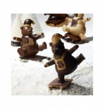 Moule Chocolat Noël Ourson sur Luge