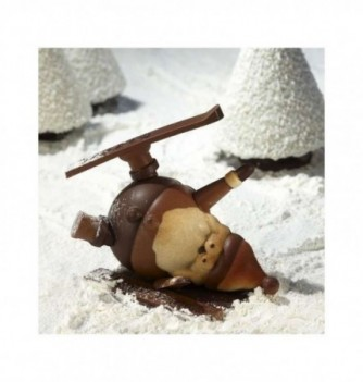 Chocolate mold - Set of 2 Santa Claus with skis 170mm