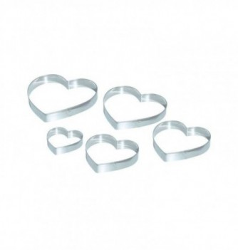 Pastry cutters - 5 Smooth Hearts diam. 50 - 74 - 100 -...
