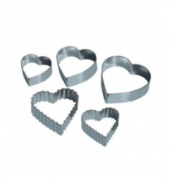 Pastry cutters - 5 Smooth & Corrugated Hearts Smooth :...