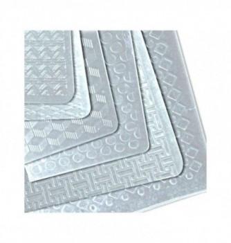 6 Feuilles pâtisserie à relief géométrique 400x300mm