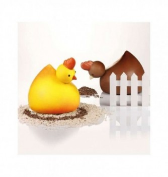 Chocolate Mold - Set of 2 Hens 165x180mm