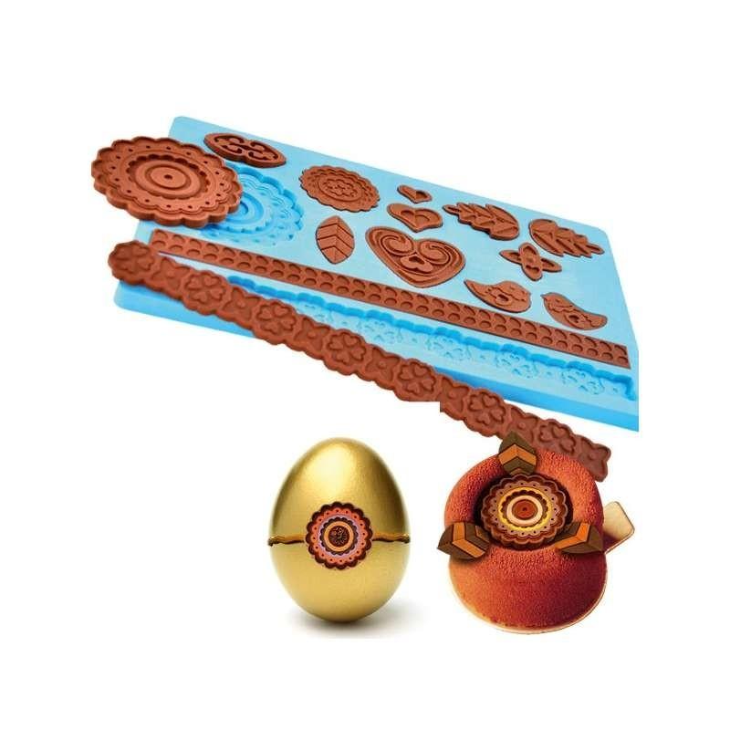 Moule chocolat boitage fleur-200x60mm