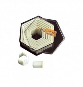 Pastry cutters - 9 Fluted Hexagons diam.15 to 90mm