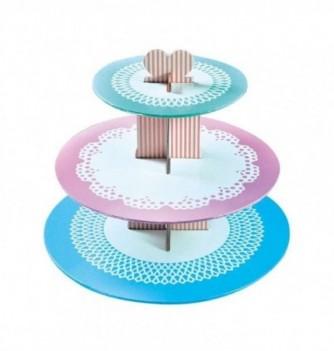 Présentoir à Cupcakes en Carton Motif Napperon