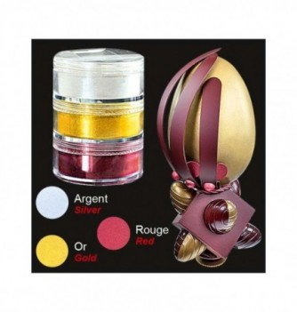 Set of 3 Food Coloring - Metallic Silver - Gold - Red