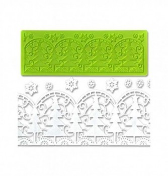 Silicone mold for lace - Christmas Firs 190x70mm