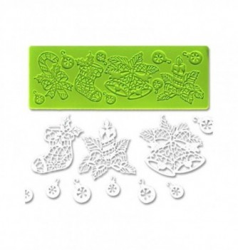 Silicone mold for lace - Christmas 190x70mm