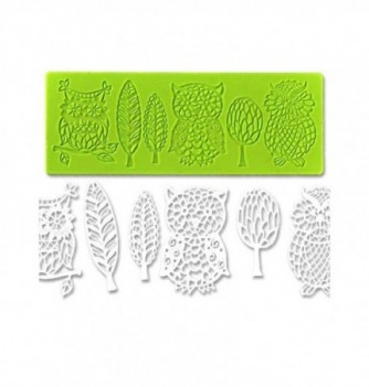 Silicone mold for lace - Owls 190x70mm