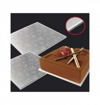 Cake board - Silver foil squares - 40x40