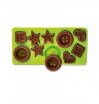 Silicone mold - Fun Buttons 3 Shapes x10 -135X55mm