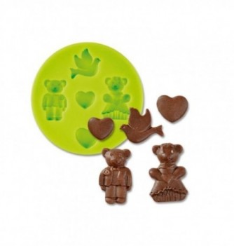 Silicone mold - Teddy bears Couple - 5 pcs - 1-3cm
