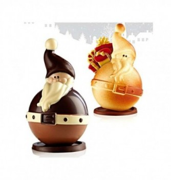 Chocolate Mold - Set of 2 Santa Claus with bases 170mm