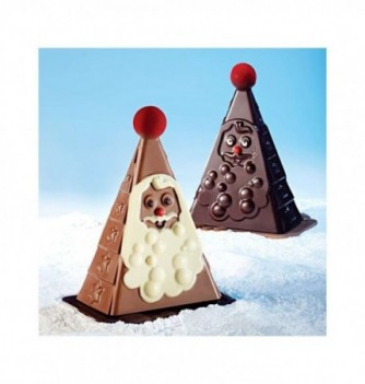 Chocolate Mold - Set of 2 Triangle Santa Claus with bases...