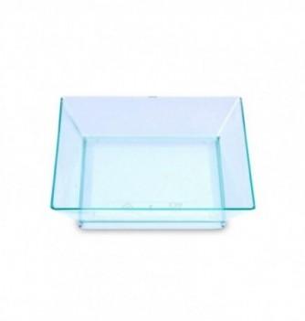 Coupelles carrées en plastique translucide