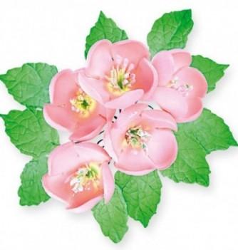 Fleurs en Pastillage Cherry Blossom avec Feuilles