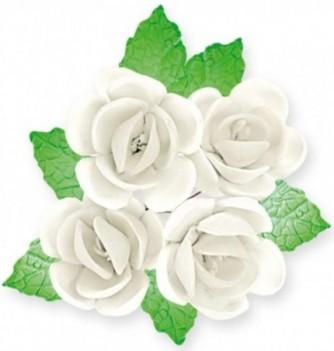 Fleurs en Pastillage à Pétales Blancs avec Feuilles