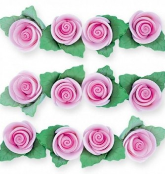 Gumpaste Flowers - Pink Roses with Leaves