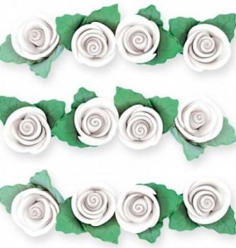 Fleurs en Pastillage Mini Rose Blanche avec Feuilles
