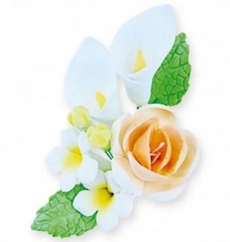 Bouquet Fleur en Pastillage Lys et Fleur Blanc-Pêche