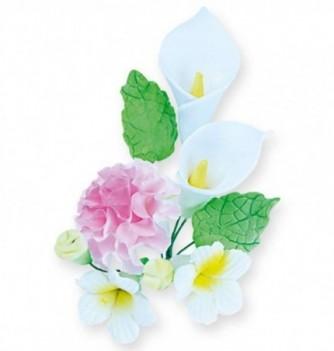 Bouquet Fleur en Pastillage Lys et Pivoine Rose-Blanc