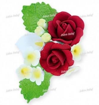 Bouquet Fleur en Pastillage Rose Rouge et Lys