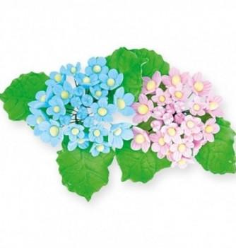 Bouquet de Fleur en Pastillage Bleu et Rose avec Feuilles