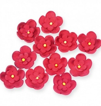 Gumpaste Flowers - Double red flowers