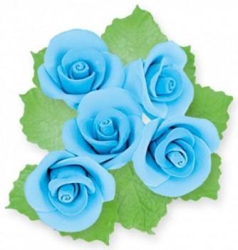 Fleurs en Pastillage pour Gâteau Rose Bleue avec Feuilles
