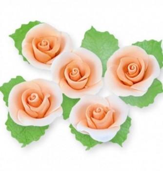 Fleurs en Pastillage pour Gâteau Rose Orange avec Feuilles