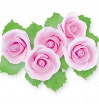 Fleurs en Pastillage pour Gâteau Rose avec Feuilles