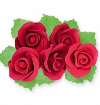 Gumpaste Flowers - Red Roses & Leaves