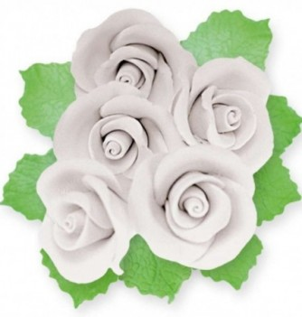 Fleurs en Pastillage pour Gâteau Rose Blanche avec Feuilles