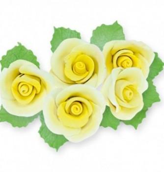 Gumpaste Flowers - Yellow Roses & Leaves