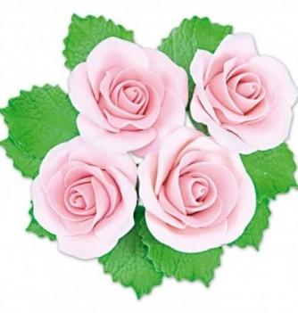 Fleurs en Pastillage Rose Ouverte Rose avec Feuilles