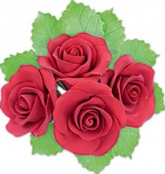Fleurs en Pastillage Rose Ouverte Rouge avec Feuilles