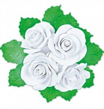 Fleurs en Pastillage Rose Ouverte Blanche avec Feuilles