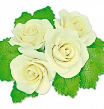 Fleurs en Pastillage Rose Ouverte Jaune avec Feuilles