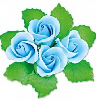 Fleurs en Pastillage Bouton Rose Bleue avec Feuilles